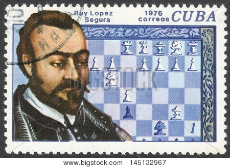 MOSCOW RUSSIA - CIRCA AUGUST 2016: a stamp printed in CUBA shows a portrait of Ruy Lopez Segura the series