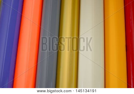 Rolls of multi-colored stickers  patch, plastic saturated