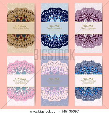 Vintage floral background.Set wedding card or invitation border ornament with Damascus and Arab elements