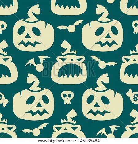 Halloween Pumpkin And Bat Seamless Pattern
