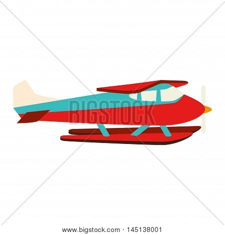 hydroplane seaplane fly water vector illustration eps 10