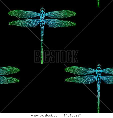 seamless pattern from gradient dragonfly on black background. Hand drawn vector damselfly