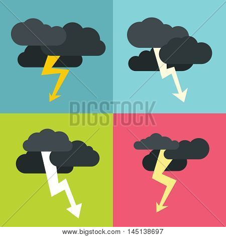 Thunderclouds flat icons on color background. Storm cyclone with dark clouds. Vector illustration