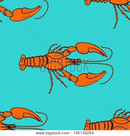 seamless pattern made from orange cancer on blue background