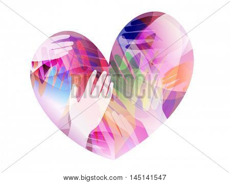 Double Exposure Illustration of Hands Inside a Colorful Heart - eps10