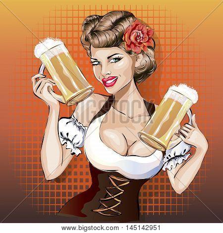 Oktoberfest Woman With Beer, Pin-up Pop-art Sexy Girl Vector
