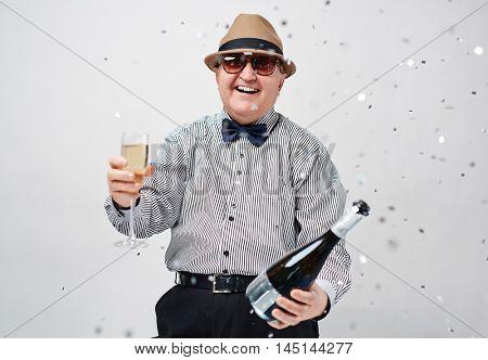 Ecstatic senior man