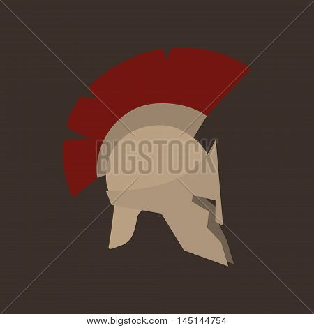 Antiques Roman or Greek Helmet Isolated, Helmet with a Dark Red Crest of Feathers or Horsehair with Slits for the Eyes and Mouth, Vector Illustration