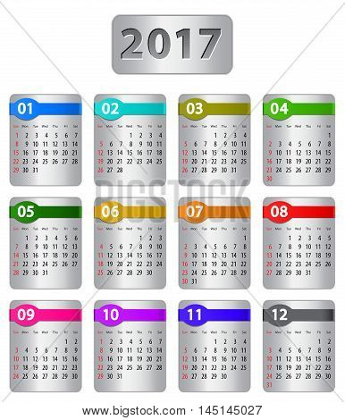 Calendar for 2017 year with colorful stickers. Vector illustration