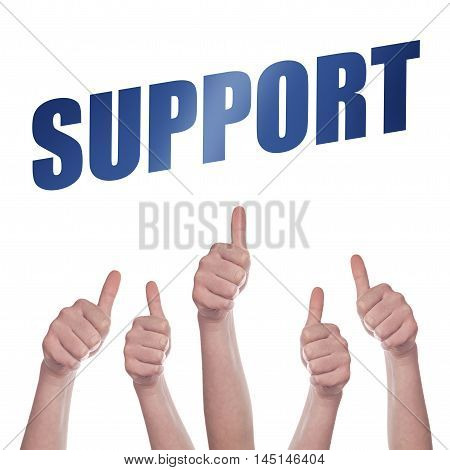 Thumbs up for Support concept hands approving and endorsing
