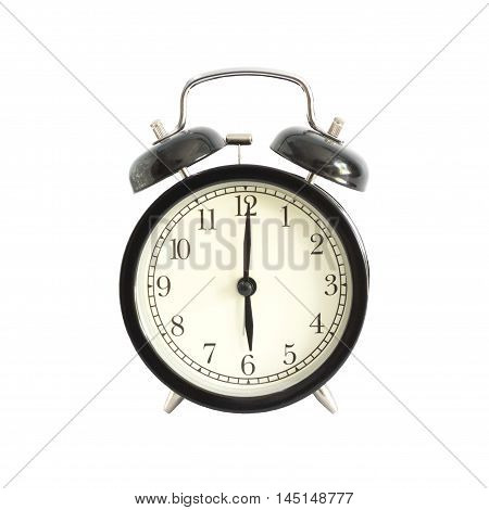Alarm Clock Setting At 6 Am Or Pm Isolated On White Background