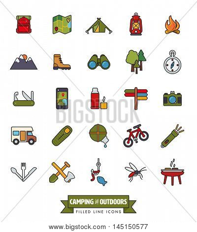 camping, hiking, trekking and outdoor pursuit filled line icon collection