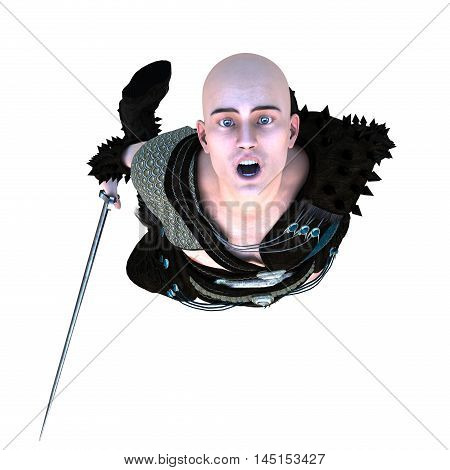 one young bald warrior in the Roman light armor. Barbaric. He is on his knees with his hands down. Screams into the camera in terror. The view from the top. 3D rendering, 3D illustration