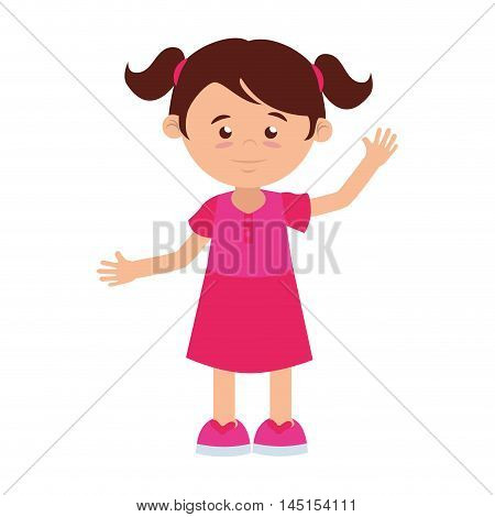 girl cartoon fuchsia dress tail hairstyle happy isolated