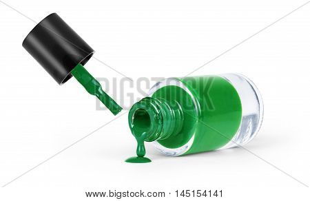 Green nail polish on a white background