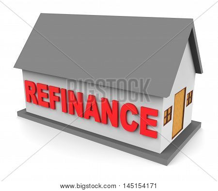 House Refinance Shows Equity Loan 3D Rendering