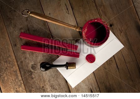 Red Wax Staff With Stamp And Letter