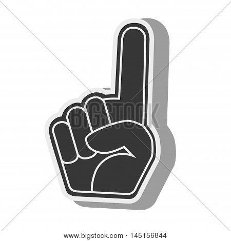silhouette hand foam finger red isolated vector illustration eps 10
