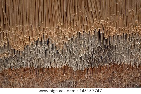 Close-up of thatched roof, Japanese old style house. Abstract blackgrownd