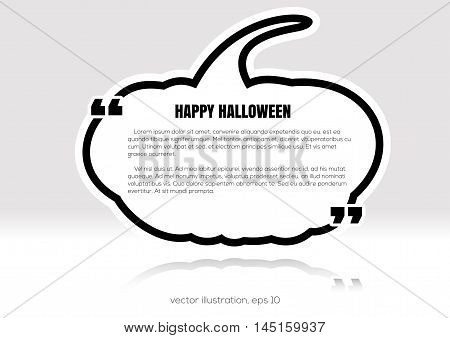 Black textbox quote in pumpkin form. Happy Halloween. Vector illustration.