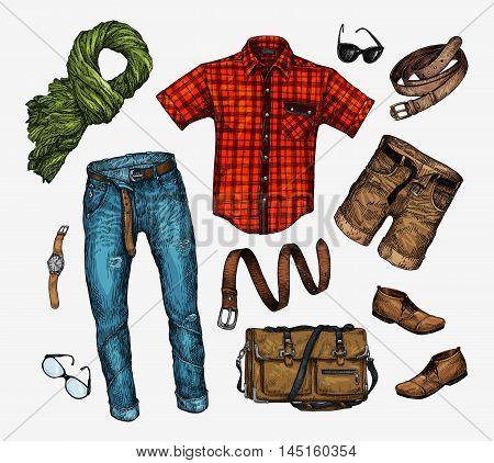 Set of trendy men clothes. Outfit of man neckerchief, shirt, bag, jeans, pants, shorts, leather belt shoes