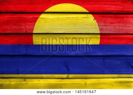 Flag Of Palmyra Atoll (unofficial), Painted On Old Wood Plank Background