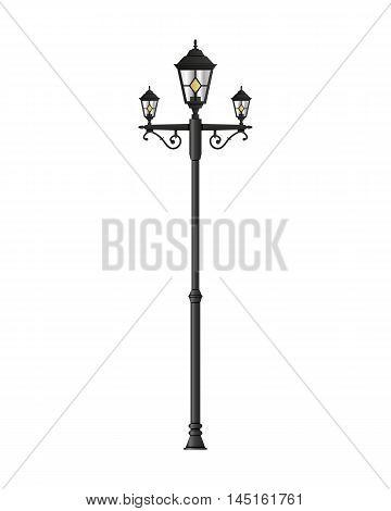 Light pole street lamp isolated on white background. vector illustration