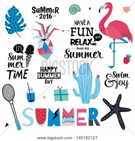 Cute Summer Design Scandinavian Set of Trendy Holiday Summer Elements. Summer Typographic. Vector. Isolated. White Background. Modern Concept. Hawaii, sport, palm, pinapple, flamingo poster