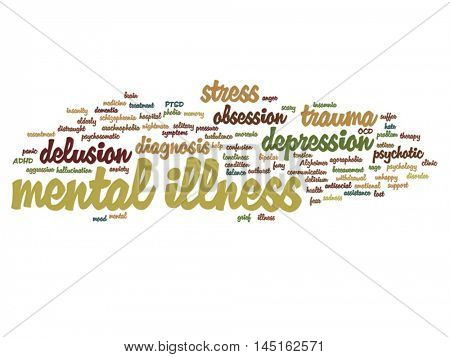 Vector concept conceptual mental illness disorder management or therapy abstract word cloud isolated on background, metaphor to health, trauma, psychology, help, problem, treatment or rehabilitation