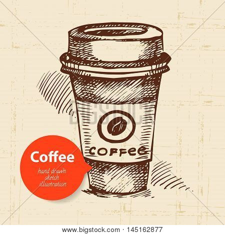 Hand drawn vintage coffee sketch vector background