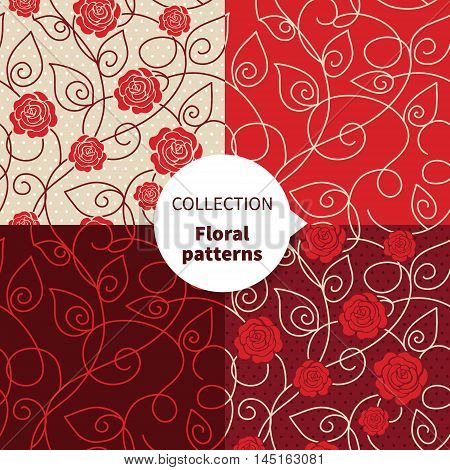 Seamless vector floral pattern set red rose background