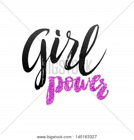 Girl Power Hand lettering Design Template. Typography Vector Background. Handmade calligraphy. Easy paste to any background.