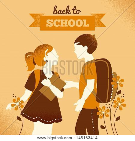 Vintage students background. School boy and girl. Back to school illustration