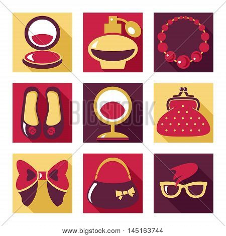 Flat icons. Set of woman fashion symbols