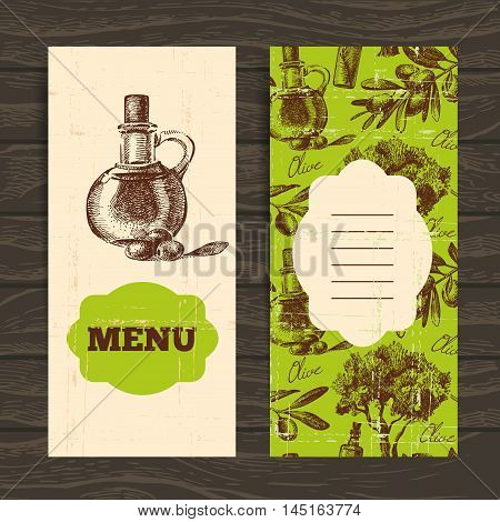Menu for restaurant, cafe, bar. Olive vintage background. Hand drawn illustration