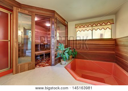 Interior Of Home Wooden Sauna Cabin With Jacuzzi Bath