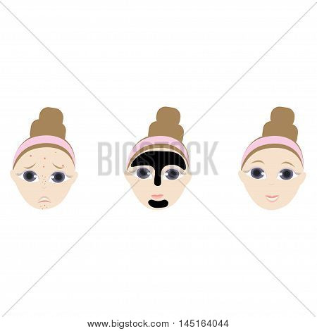 Girl Doing The Dirt Mask Portrait Flat Cartoon Simple Illustration In Sweet Gitly Style Isolated On White Background
