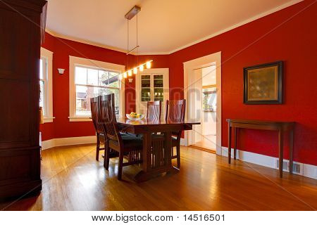 Classic Red Dining Room With Antique Furniture