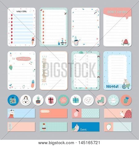 Cute Daily and Weekly Planner Template. Note Paper and Stickers Set with Vector Funny Animals Illustrations. Good for Kids. Cute Background. Organizer and Schedule with place for Notes.