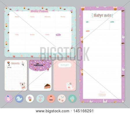 Cute calendar daily weekly planner vector photo bigstock cute calendar daily and weekly planner template note paper and stickers set with vector funny pronofoot35fo Choice Image