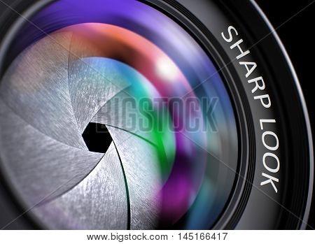 Digital Camera Lens  with Sharp Look Concept, Closeup. Lens Flare Effect. Sharp Look Concept. Camera Lens with Sharp Look Concept. Sharp Look on Front of Camera Lens. Colorful Lens Flares. 3D.