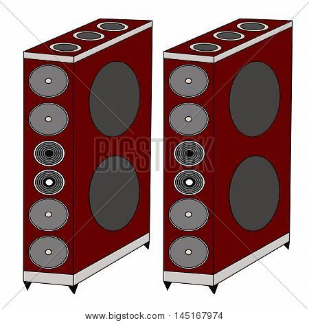 Vector illustration logo for a music speaker.Isolated in the drawing,consists of mahogany,speakers,bass,loud sound,music for musicians,white background.The icon for home theatre,disco,party,dance,joy
