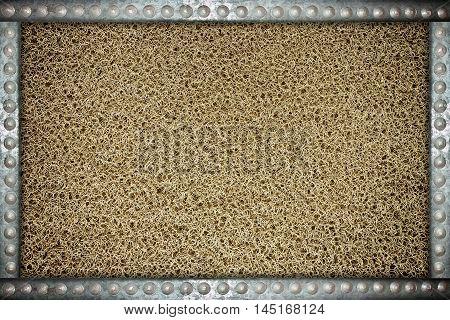 Dark mat background with metal rivets frame
