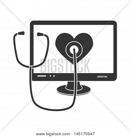 computer stethoscope cardio isolated vector illustration esp 10