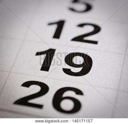 close up black white calendar nineteen number