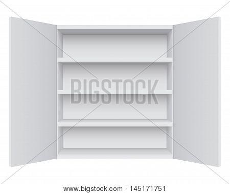 Empty white cabinet isolated on white background