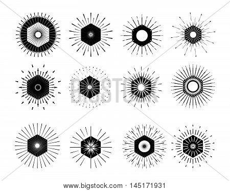 Retro Sun Burst Shapes. Vintage Logo, Labels, Badges. Vector Design Elements Isolated. Minimal Black