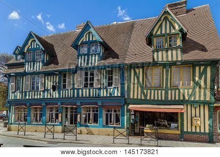 Picturesque half-timbered houses in Pont-l'Eveque Calvados France