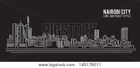 Cityscape Building Line art Vector Illustration design - Nairobi city