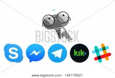 Kiev Ukraine - July 11 2016: Microsoft Murphy bot and Skype Messanger Telegram Kik and Slack logos printed on white paper. Murphy is the robot with imagination which is created by Microsoft